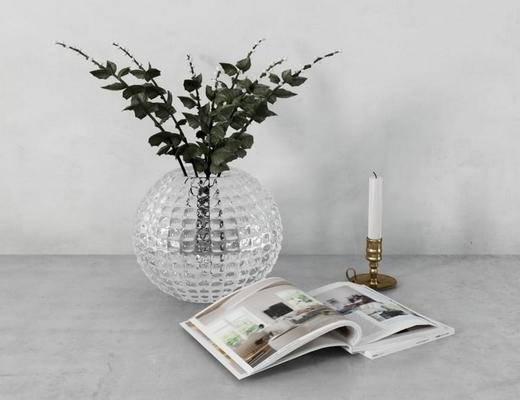 欧式, 绿植, 玻璃花瓶, 蜡烛, 摆件, 杂志