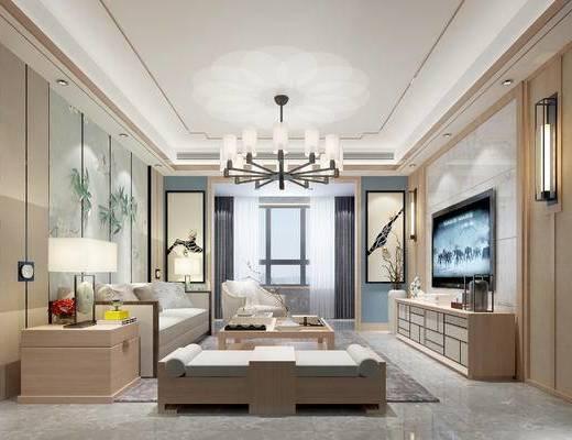 新中式客厅, 电视柜, 茶几, 壁画, 沙发躺椅, 吊灯, 多人沙发, 边柜, 台灯, 新中式