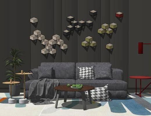 沙发组合, 双人沙发, 壁画, 茶几, 落地灯, 边几, 盆栽, 地毯, 现代