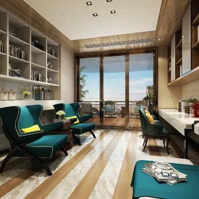 现代书房, 椅子, 桌子, 置物柜, 边几, 钢琴, 沙发凳, 现代