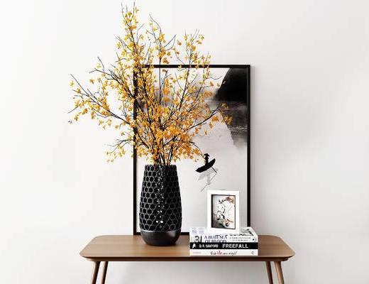 摆件组合, 花瓶, 装饰画, 现代