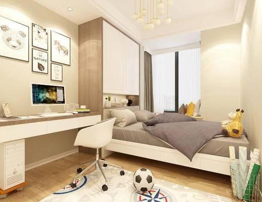 现代简约卧室, 床, 飘窗, 壁画, 桌椅组合, 储物柜, 电脑, 相框, 地毯, 现代简约