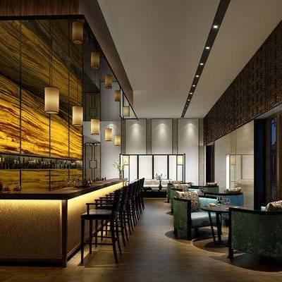 新中式餐厅, 吊灯, 吧台, 吧椅, 桌子, 椅子, 壁画, 新中式