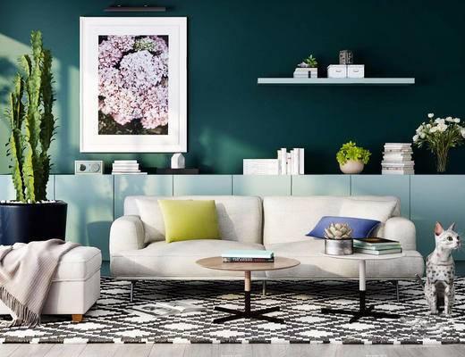 北欧简约, 沙发茶几组合, 陈设品组合, 植物盆栽