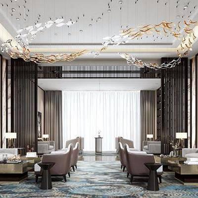 售楼处, 桌子, 吊灯, 椅子, 多人沙发, 台灯, 地毯, 新中式