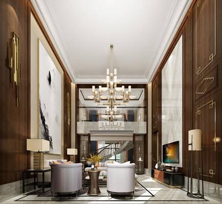 新中式客厅, 吊灯, 壁画, 多人沙发, 茶几, 电视柜, 台灯, 边几, 落地灯, 椅子, 新中式