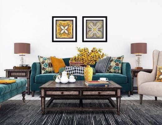 沙发组合, 多人沙发, 茶几, 壁画, 台灯, 椅子, 美式