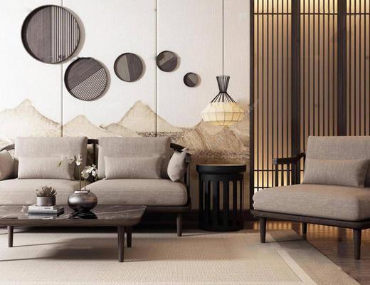 新中式, 、沙发组合, 吊灯, 茶几