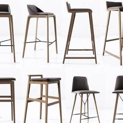 美式简约, 实木吧椅, 椅子, 椅子组合