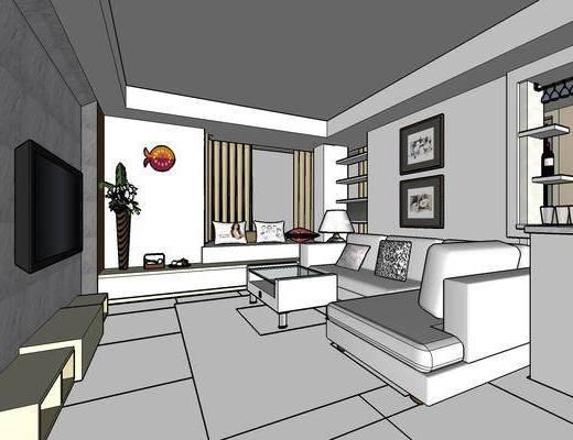 现代客厅, 现代餐厅, 客厅餐厅, 沙发组合