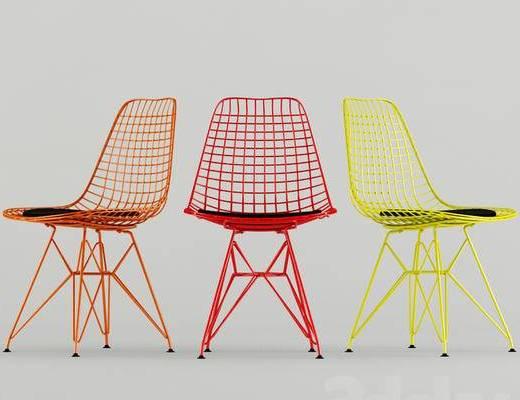 北欧简约, 椅子, 北欧椅子, 铁艺, 单人椅, 下得乐3888套模型合辑