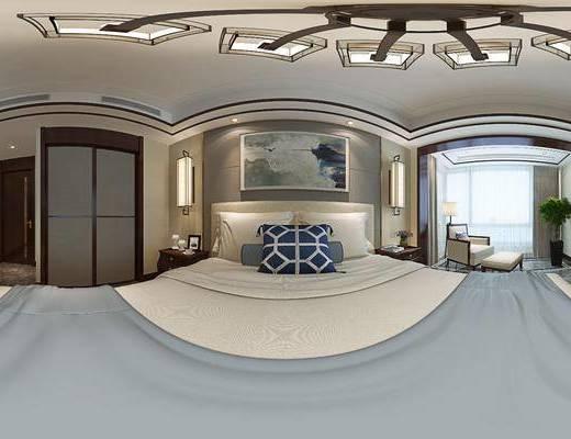 新中式卧室, 双人床, 床头柜, 壁画, 壁灯, 单人沙发椅, 落地灯, 电视柜, 盆栽, 衣柜, 新中式
