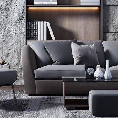 沙发组合, 椅子, 茶几, 置物柜, 沙发凳, 现代