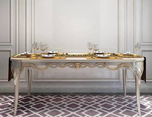 摆件组合, 餐桌, 餐具, 简欧