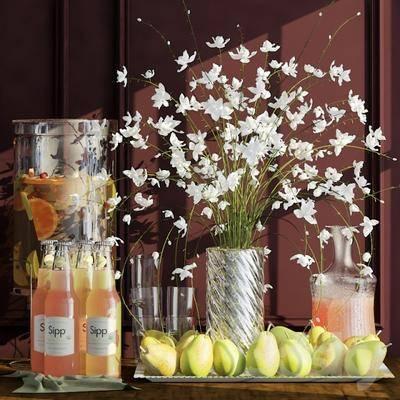 饮料, 水果, 蔬菜, 花瓶, 摆件, 现代
