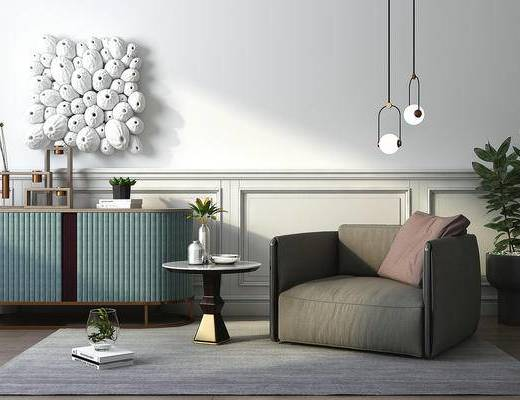 现代, 沙发, 茶几, 吊灯, 盆栽, 墙饰, 边柜, 装饰柜, 摆件, 书籍, 花瓶