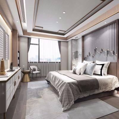 新中式卧室, 双人床, 壁画, 柜子, 吊灯, 摆件组合, 新中式