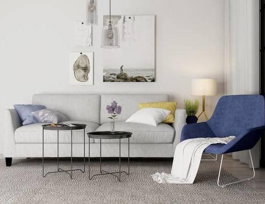 现代沙发组合, 双人沙发, 单椅, 茶几, 挂画, 现代