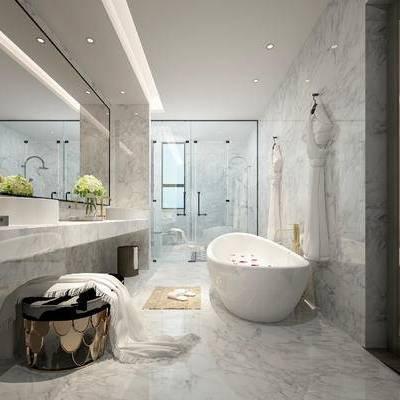 卫浴, 洗手台, 浴缸, 凳子, 淋浴间, 现代