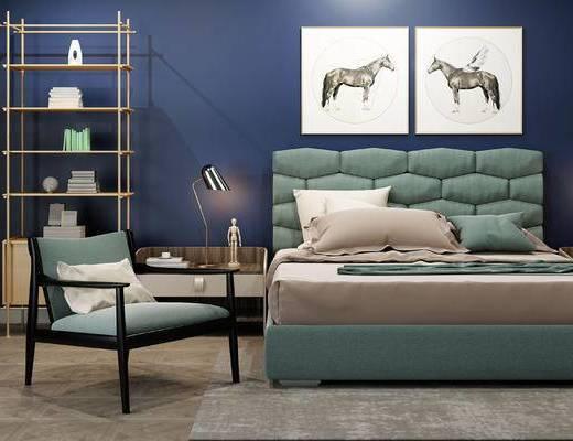 床具组合, 壁画, 双人床, 床头柜, 台灯, 椅子, 置物柜, 北欧