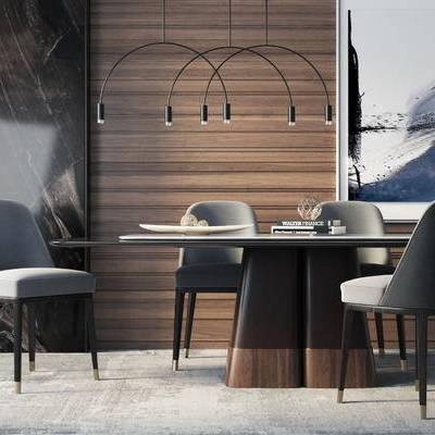 餐桌椅组合, 吊灯, 壁画, 餐桌, 椅子, 现代