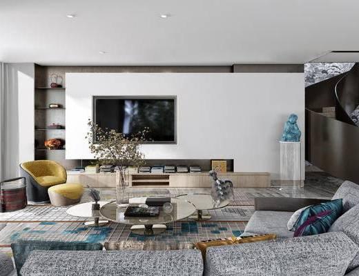 后现代客厅, 多人沙发, 椅子, 电视柜, 茶几, 边几, 置物架, 花瓶, 后现代