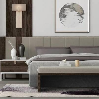 床具组合, 双人床, 床尾塌, 床头柜, 花瓶, 壁灯, 新中式