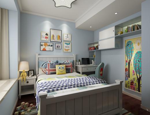 现代简约, 儿童房, 床具组合, 陈设品组合, 台灯
