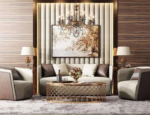 美式简约, 沙发茶几组合, 吊灯, 酒瓶, 花瓶