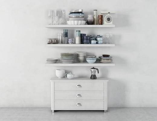 美式, 装饰, 柜子, 白色, 瓷碗, 餐具