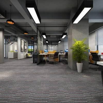 现代办公室, 桌子, 椅子, 盆栽, 吊灯, 现代