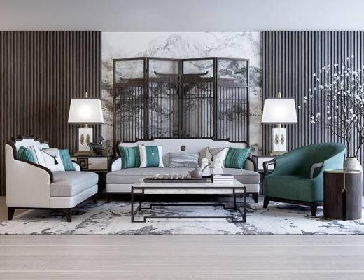 沙发组合, 茶几, 多人沙发, 椅子, 边几, 台灯, 屏风, 壁画, 花瓶, 新中式