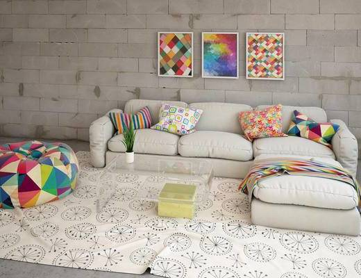 沙发组合, 多人沙发, 茶几, 壁画, 北欧
