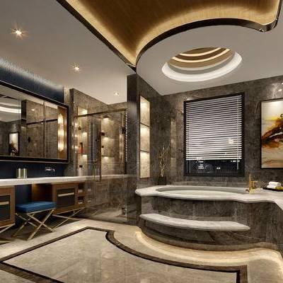 卫浴, 壁灯, 浴缸, 洗手台, 壁画, 凳子, 现代