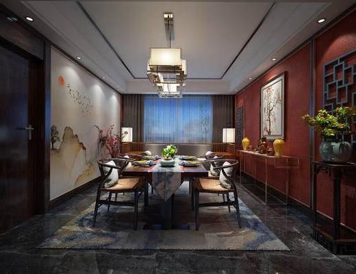 中式餐厅, 吊灯, 桌子, 椅子, 壁画, 边几, 双人沙发, 落地灯, 盆栽, 中式