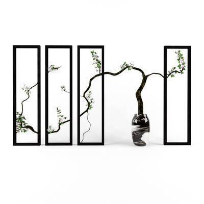 新中式, 盆栽, 装饰框