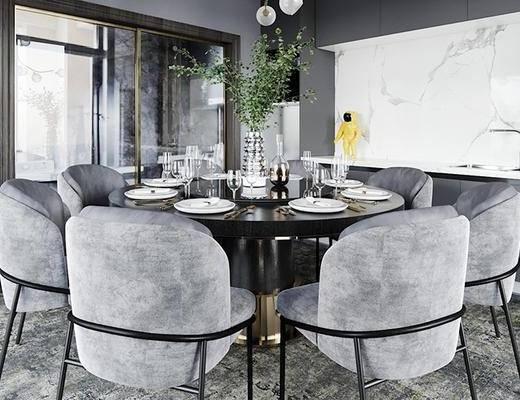 桌椅组合, 桌子, 椅子, 壁画, 橱柜, 餐具, 花瓶, 现代