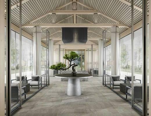 桌椅组合, 盆景植物, 沙发组合