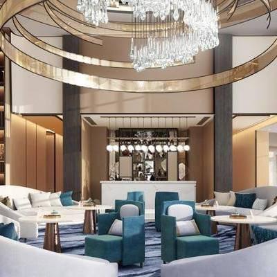 现代售楼处, 吊灯, 椅子, 多人沙发, 置物柜, 桌子, 现代