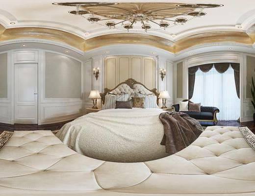 欧式卧室, 吊灯, 双人床, 床头柜, 台灯, 床尾塌, 壁灯, 电视柜, 盆栽, 欧式