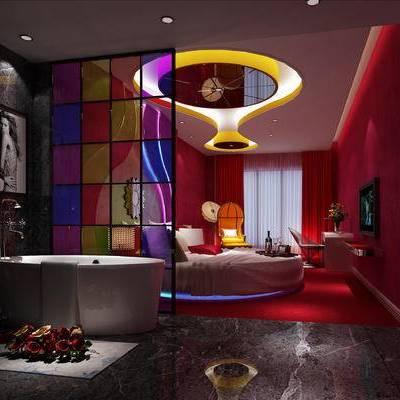 现代客房, 双人床, 壁画, 椅子, 桌子, 浴缸, 吊灯, 现代