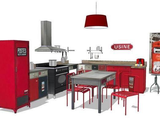 厨房, 橱柜, 厨柜, 餐桌, 椅子, 吊灯, 现代