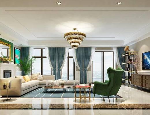 欧式客厅, 电视柜, 多人沙发, 吊灯, 椅子, 边几, 壁画, 壁炉, 欧式