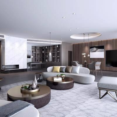 客厅, 沙发茶几组合, 多人沙发, 茶几, 吊灯, 桌椅组合, 置物柜, 现代