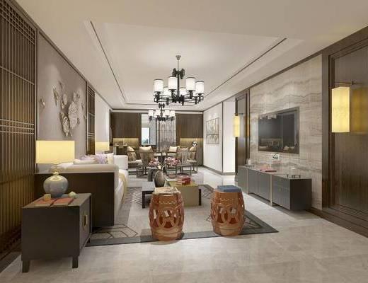 新中式客餐厅, 吊灯, 多人沙发, 茶几, 边几, 壁画, 电视柜, 凳子, 边柜, 台灯, 新中式
