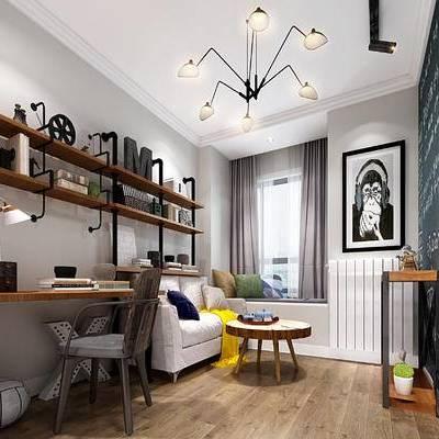 现代书房, 吊灯, 置物架, 桌子, 椅子, 边几, 多人沙发, 壁画, 台灯, 现代
