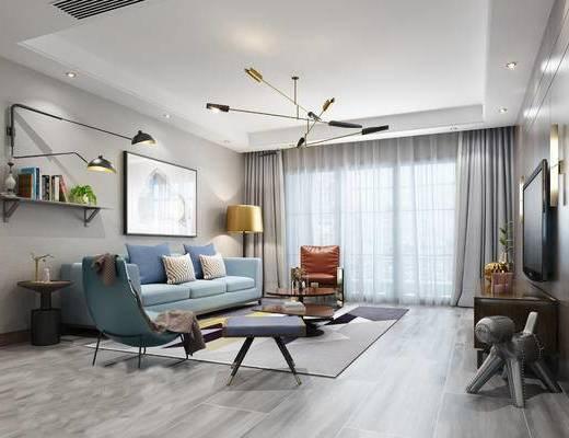 现代客餐厅, 吊灯, 多人沙发, 茶几, 置物架, 壁灯, 电视柜, 椅子, 壁画, 边几, 落地灯, 现代