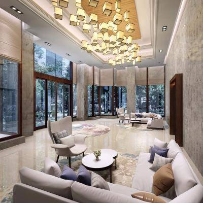 现代售楼处, 休闲区, 沙发茶几组合, 单人沙发, 茶几, 吊灯, 多人沙发, 地毯, 现代