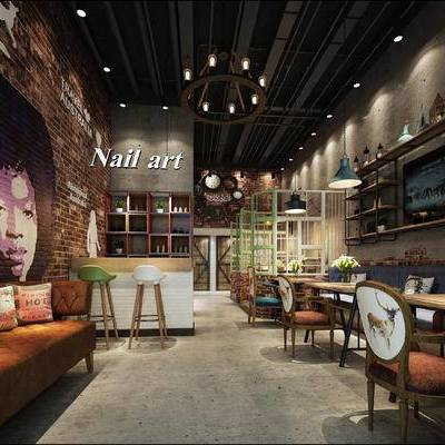 现代咖啡厅, 沙发, 吊灯, 吧台, 吧椅, 椅子, 桌子, 置物柜, 现代