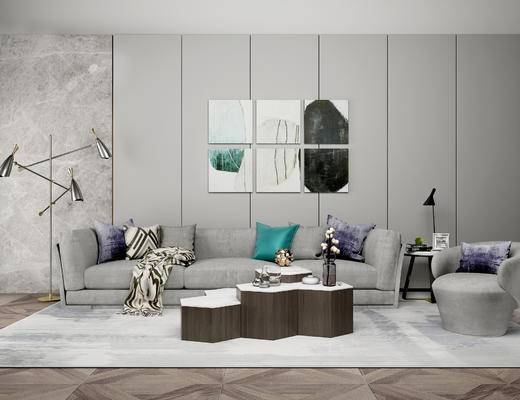 现代沙发组合, 多人沙发, 茶几, 落地灯, 单人椅, 现代